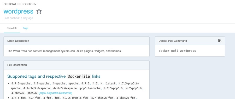 docker repository page