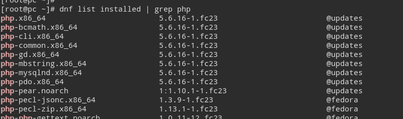 List Installed Packages dnf command