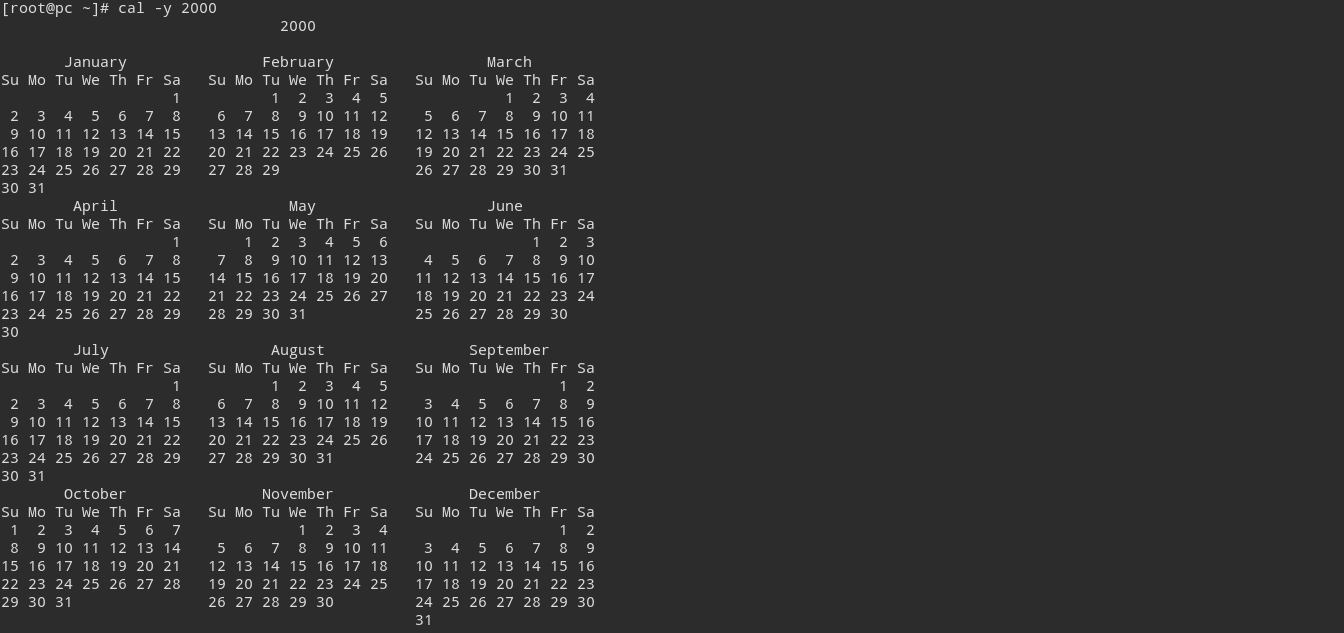 Linux Print calendar of a specific year in terminal