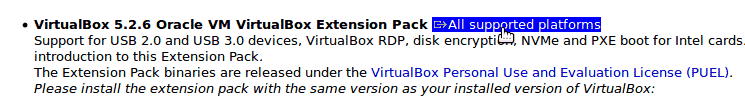 Download VirtualBox Extension pack for Windows 10