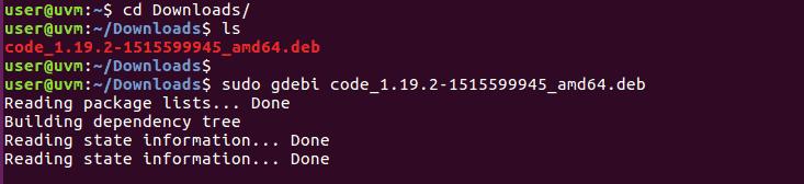 gdebi install vscode