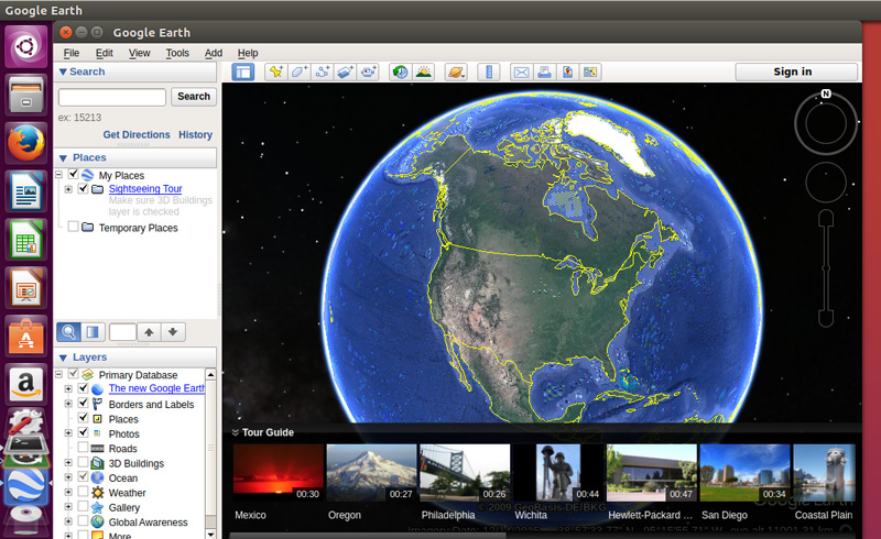 Google Earth running on Ubuntu Desktop 16.04
