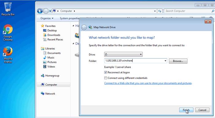 mount ubuntu samba share on windows 7