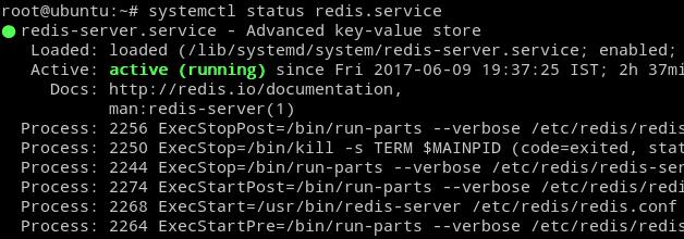 Redis Server status on Ubuntu 16.04