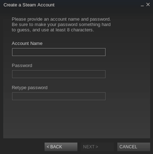 Create a new steam account