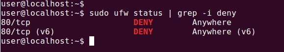 ubuntu firewall status filter port