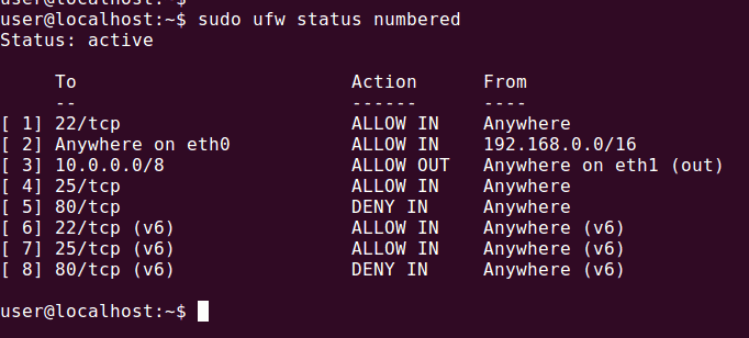 ufw status firewall rule number