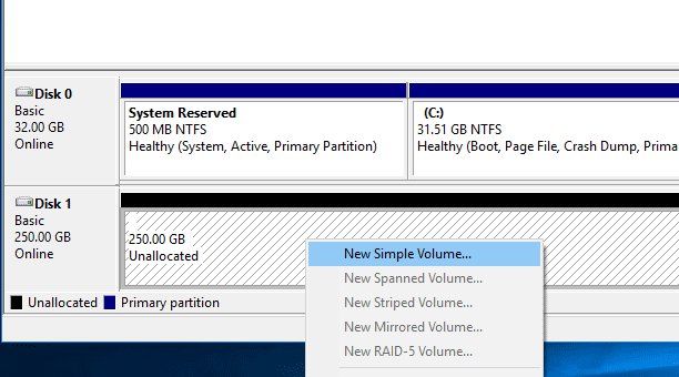 Windows 10 Create New Partition From New hard drive