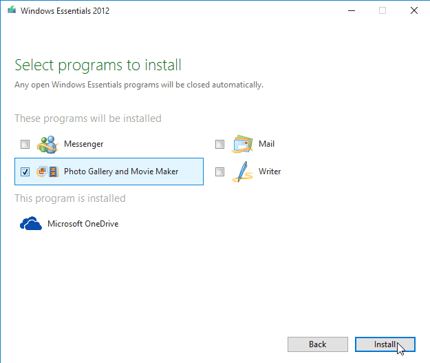 Install Movie Maker on Windows 10