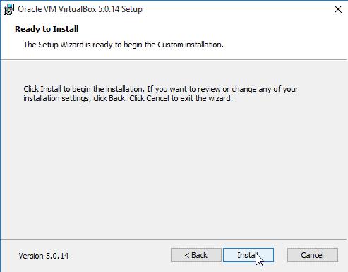 begin the VirtualBox installation on Windows 10