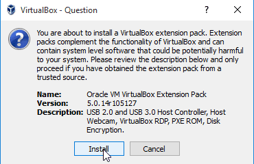 Install VirtualBox Extension pack on Windows 10